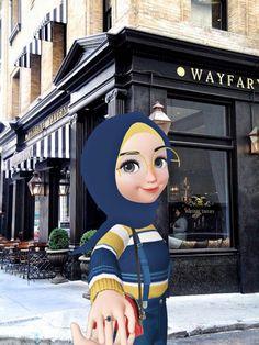 Love Cartoon Couple, Cute Cartoon Pictures, Cartoon Profile Pictures, Girl Cartoon, Girl Pictures, Cute Emoji Wallpaper, Cartoon Wallpaper, Hijab Drawing, Islamic Cartoon
