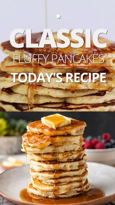 Heres my grammas Fluffy Pancake Recipe! A super easy classic breakfast recipe using pantry staples that delivers a fluffy pancake every time. These hold up well if adding cooked bacon chocolate chips nuts or diced fruit to the batter too. Jiffy Mix Recipes, Waffle Recipes, Brunch Recipes, Sweet Recipes, Pancake Recipes, Brunch Ideas, Yummy Recipes, Vegan Recipes, Egg Recipes For Breakfast