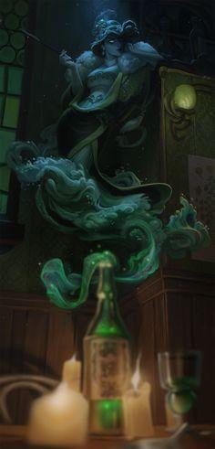The Green Fairy, Jessica Oyhenart on ArtStation at https://www.artstation.com/artwork/Z1Bm1