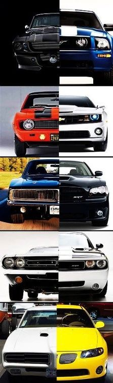 Pony cars, then and now! From bottom-up: Pontiac GTO, Dodge Challenger, Dodge Charger, Chevy Camaro, Ford Mustang