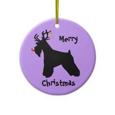 Schnauzer Reindeer Christmas Tree Ornament