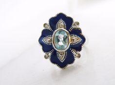 Art Deco Style 925 Sterling Silver Aquamarine Blue Enamel Gemstone Designer Ring #Handmade #SolitairewithAccents