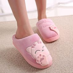 d904cd881f3 Women Winter Warm Home Slippers Cartoon Lucky cat Non-slip Home Shoes Men  Indoor Floor Bedroom Lovers Couple Plush House Shoes