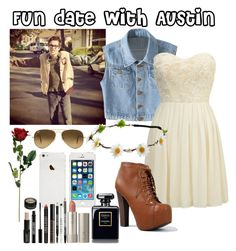 Fun date with Austin! :) by fergie21 on Polyvore featuring polyvore, fashion, style, Lipsy, Breckelle's, Ray-Ban, Lord & Berry and Ilia
