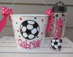 Personalized Gift pail bucket and tumbler or water bottle set- 5 quart size. Many styles and colors available