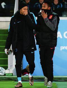 Robinho and Neymar share a joke before the FIFA Club World Cup Semi Final match between Barcelona and Guangzhou Evergrande FC at International Stadium Yokohama on December 17, 2015 in Yokohama, Japan.