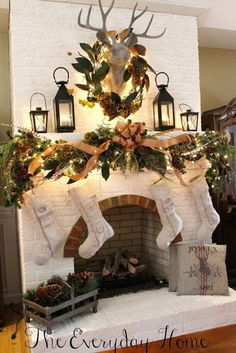 Oh Deer! Our Christmas Mantel. – Amber Newberry Oh Deer! Our Christmas Mantel. Great over the mantel decoration for the holidays! Christmas mantel and stockings with a charming wreath over a deer head Christmas Fireplace, Christmas Mantels, Noel Christmas, Country Christmas, Winter Christmas, All Things Christmas, Woodland Christmas, Burlap Christmas, Garland Mantle Christmas