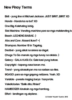 New Pinoy Terms.