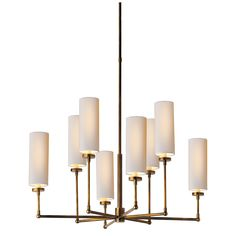 """Ziyi Large Chandelier DESIGNER: THOMAS O'BRIEN $945.00 ITEM #TOB5016 SPECIFICATIONS O/A Height: 44.5"""" Min. Custom Height: 32"""" Width: 33.5"""" Canopy: 4.25"""" Round Shade Details: 4"""" X 4"""" X 9.5"""" Hand-Rubbed Antique Brass with Natural Paper Shades"""