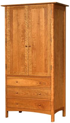 Modern Shaker Tall Armoire handcrafted in Vermont using sustainably harvested wood. Customize this piece's edge profile, armoire height, and with the choice of cherry, maple, or walnut wood.