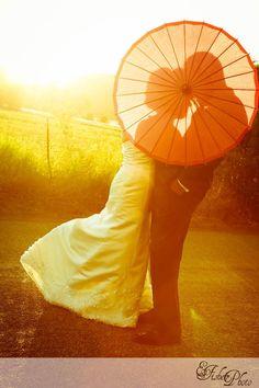 summer wedding. paper umbrella.