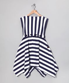 Nautical White Monica Dress - Toddler & Girls #zulily #fall    sorta enamored with the idea of me & C in matching navy stripes