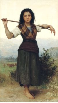 The Shepherdess by William-Adolphe Bouguereau, located at Philbrook Museum in Tulsa, Oklahoma