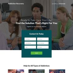 addiction recovery and treatment center landing page design