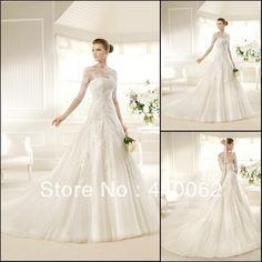 Maria's Bridal Custom Made White/Ivory Half Sleeve Ball Gown Wedding Dress Bridal Dresses 2015 New Fashion Vestido de Noiva-in Wedding Dresses from Weddings & Events on Aliexpress.com | Alibaba Group