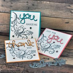 Stamp Sets: Falling Flowers & Crazy About You and Hello You Thinlit Dies. Flower Stamp, Flower Cards, Note Cards, Thank You Cards, Pink Crafts, Crazy About You, Hand Stamped Cards, Stamping Up Cards, Color Card