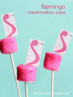 sparkling pink flamingo marshmallow pops with free printable for your summer party or a flamingo party food idea Pink Flamingo Party, Flamingo Baby Shower, Flamingo Cake, Flamingo Birthday, Pink Flamingos, Flamand Rose Deco, Hawaian Party, Marshmallow Pops, Tropical Party