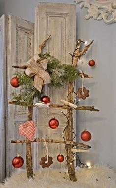 Vianočný rebrík / Christmas ladder Ladder Decor, Christmas, Home Decor, Homemade Home Decor, Navidad, Weihnachten, Yule, Christmas Movies, Interior Design