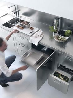 Edelstahl Küche Abimis prisma stauraum arbeitsplatte schubladen