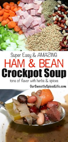 Cook up an easy dinner tonight with this crockpot ham and bean soup recipe. You'll love this homemade dinner recipe for the family; just dump in ham (leftover ham works great), dried beans, veggies, spices, and set the slow cooker for a wonderful one pot main dish meal. This is a simple soup recipe and is cheap, making it great for on the budget, whole food clean eating. #soup #crockpot #easydinner #weeknightmeal