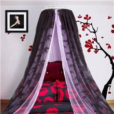 Crown Design Double Lace Black and Purple Bed Canopy Baby Room Curtains, Curtains For Sale, Hanging Bed Canopy, Bed Valance, Princess Canopy Bed, Bed Net, Purple Bedding, Bed Styling, Nursery Design