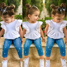 Toddler Kids Baby Girls Outfits Solid T-shirt Tops+Pearl Denim Pants Jeans Set Little Girl Outfits, Little Girl Fashion, Toddler Girl Outfits, Toddler Fashion, Kids Fashion, Toddler Girls, Fall Fashion, Style Fashion, Capri Outfits