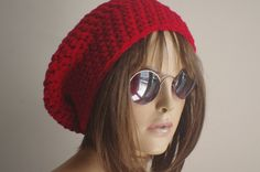 Red hat  chunky knit Slouchy brown  Beanie Slouch Hat by yagmurhat