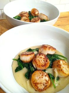 Pan-Seared Scallops With Asparagus And Baby Leeks Recipes — Dishmaps