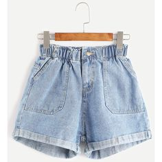 SheIn(sheinside) Elastic Waist Rolled Hem Denim Shorts ($16) ❤ liked on Polyvore featuring shorts, blue, high-waisted shorts, jean shorts, high waisted stretch shorts, blue shorts and blue jean shorts