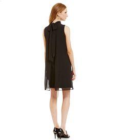 Black:Eliza J Chiffon Mock Neck Swing Dress