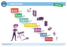 Hoeveel centimeter gaat er in een meter? En hoeveel meter in een kilometer? Het omrekenen van lengtematen kan lastig zijn. Deze handige kaart van het metriek stelsel voor lengtematen biedt je een goede ondersteuning tijdens het maken van dergelijke rekensommen. Zo worden de rekensommen een stuk makkelijker en leuker! Bovendien helpt de kaart je goed om het metriek stelsel voor lengtematen te onthouden. School Lessons, School Hacks, School Projects, Einstein, Math 5, Co Teaching, Math Poster, Numbers For Kids, Math Facts