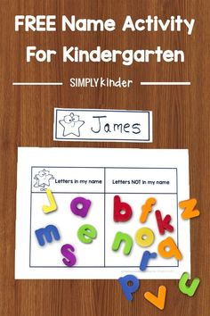 Do you need an easy hands on activity to help your students learn their names? Your students will love learning how to spell and recognize their names with this sorting game. Two variations of the game are provided. Perfect for name building practice and simple enough to use in literacy centers. | Free printable | Literacy Center | Kindergarten
