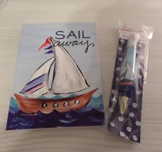 SAIL AWAY SAILBOAT DIARY NOTEBOOK + MATCHING PEN NAUTICAL COASTAL STATIONERY NIP