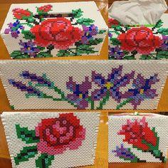 Rose tissue box cover perler beads by starmiti