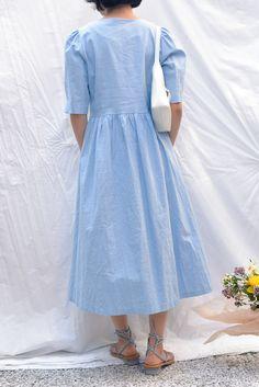 6779242c37b Charlotte Puff Sleeve Day Dress - Sky Linen