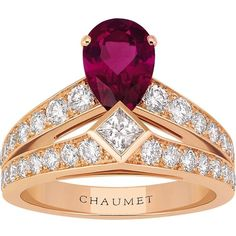 CHAUMET Joséphine Tiara 18ct pink-gold, rubellite and diamond ring ($12,480) ❤ liked on Polyvore featuring jewelry, rings, pear diamond ring, pave diamond ring, rose gold diamond ring, diamond jewelry and princess cut ring