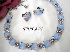 Trifari Choker Earrings Set - Baby Blue Shoebutton - AB Rhinestone