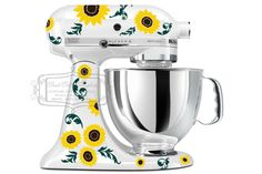 Kitchen mixer vinyl decal set SUNFLOWERS with by GoodGollyGraphics