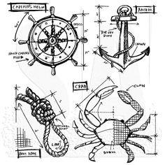 Tim Holtz Cling Mount Stamps - Mariner Blueprint CMS234