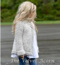 knitting for kids Knitting Pattern for Childs Brink Cardigan - This childrens sweater by Velvet Acorn is a quick knit in super bulky yarn. Sizes included S, M, L Baby Knitting Patterns, Knitting For Kids, Free Knitting, Knitting Ideas, Diy Tricot Crochet, Crochet Poncho, Velvet Acorn, Knit Cardigan Pattern, Chunky Cardigan