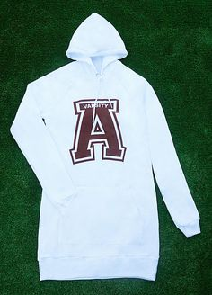 American Varsity Soft 100% cotton  Pure white Hoodie Dress  Made in the U.S.A