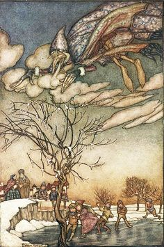 December: Jack Frost from Arthur Rackham's book of pictures, with an introduction by Sir Arthur Quiller-Couch, 1913. From The John Rylands Library, The University of Manchester Library