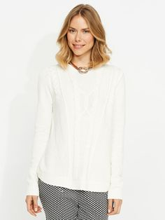 Portmans: Uneven cable zip knit in white. Work Tops, Cardigans For Women, Casual Tops, Knitwear, Jumper, Cable, Pullover, Zip, Cabo