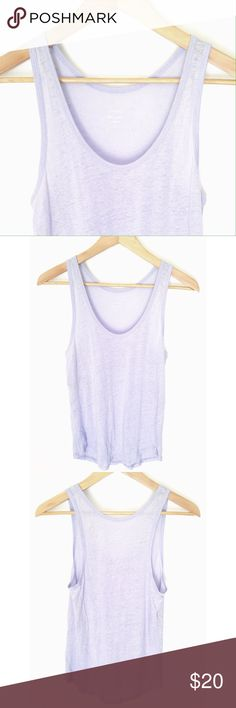 """J. Crew 100% Linen Lavender Tank Top Like new J. Crew lavender linen tank.  This top is soft, flowy and a little bit sheer.  The measurements are:  bust 14"""", waist 17"""" and the length at the longest point is 24"""". J. Crew Tops Tank Tops"""