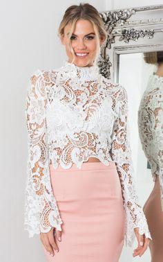 Showpo Night Desires top in white lace - 12 (L) Long Sleeve Lace Blouse Styles, White Lace Bodysuit, Lace Outfit, Lace Crop Tops, Simple Dresses, Look Fashion, Blouse Designs, Blouses For Women, Designer Dresses