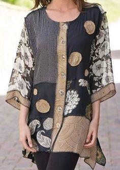 Floral Gola Redonda Informal Blusas Retas Manga Plus Size Blusas Sewing Clothes, Diy Clothes, Clothes For Women, Kleidung Design, Boho Fashion, Womens Fashion, Refashioning, Mode Vintage, Cool Outfits