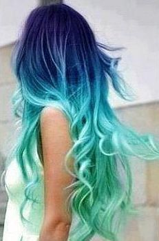 Blue Lagoon, Ombre Dip Dyed Hair Extensions