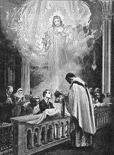 The Holy Sacrifice Of the Mass depicting Our Lord Jesus Christ present in the Holy Eucharist.