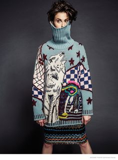 "wgsn: "" This shot for Madame Figaro Spain December issue takes Christmas jumper styling to another level! """