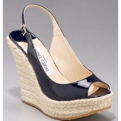 Jimmy Choo Polar Patent Leather Espadrille Wedge Slingbacks Navy